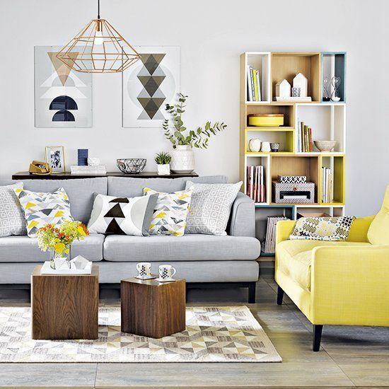 grey and lemon living room  contemporary living room