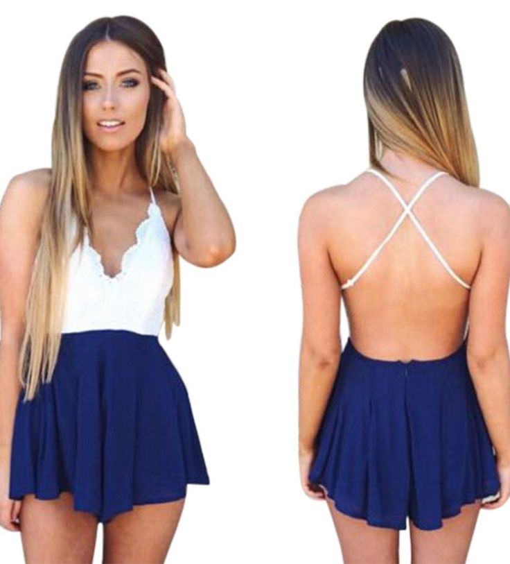 Blue Sundress: The sexy V-neck line crossed straps to reverse design, the adorable print pattern and the contrast lace make that gorgeous blue playsuit. http://www.cutedresses.co/go/Deep-V-Neck-Playsuit-Backless-Chiffon-Short-Jumpsuit-Dress