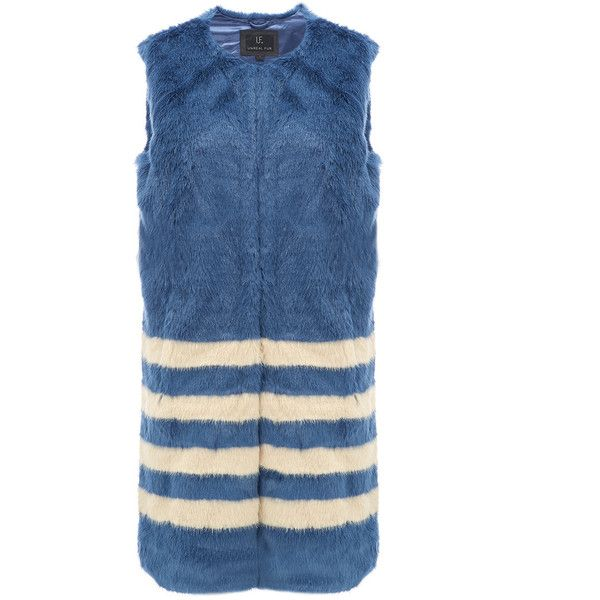 Unreal Fur Tundra Long Multi Stripe Vest - Midnight Blue & Champagne ($235) ❤ liked on Polyvore featuring outerwear, vests, striped vest, long waistcoat, long vest and vest waistcoat