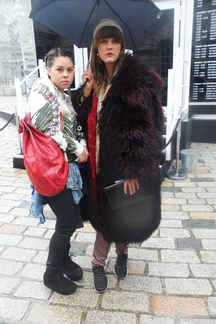 My friend's got style #fashion #friends #plaits #hat #fur #coat #bag #red #london #fashionweek