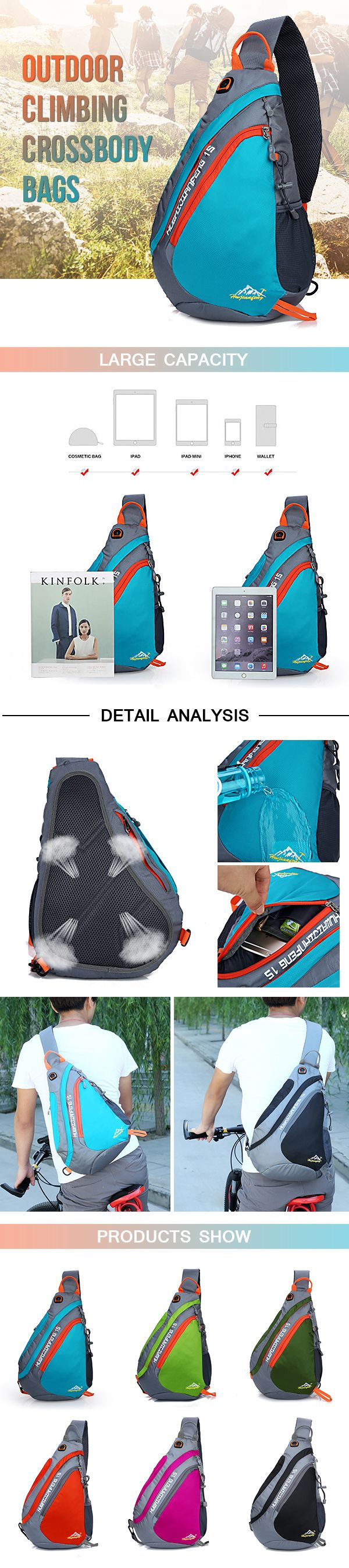 US$18.69#Women Men Nylon Light Waterproof Outdoor Climbing Chest Bag Shoulder Bag Crossbody Bags