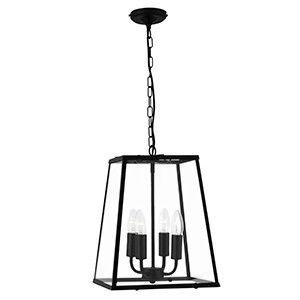 4 Light Black Lantern Pendant Range Name: LANTERNS Wiring: Class 1 (Earth Required) Product Dimensions: H 39cm (MAX 88cm) Ø 29cmMax. Lamp: 4 X 60W E14