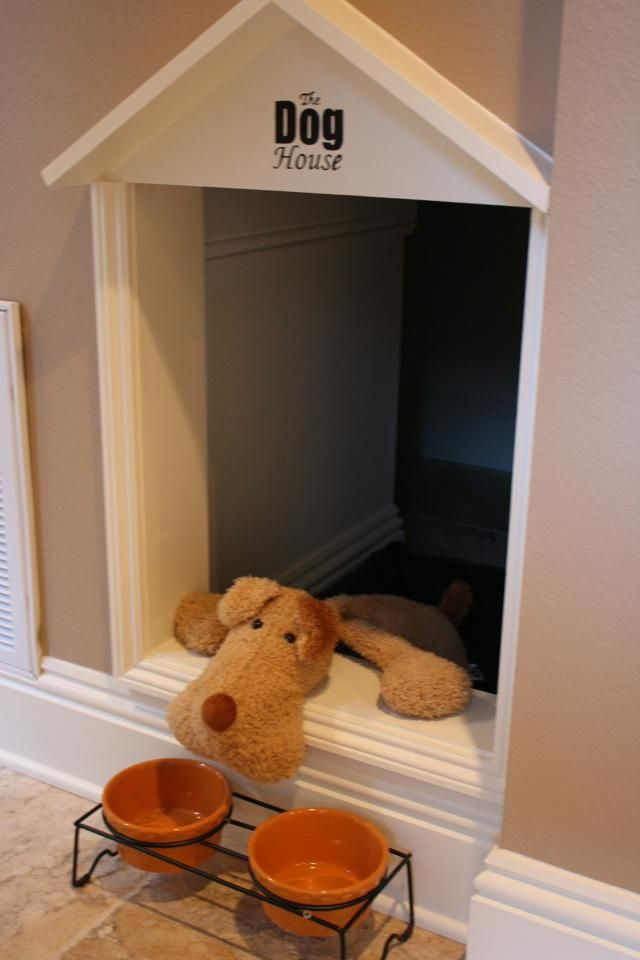 This was built into a closet in the laundry room, you could easily add a gate to keep the dog inside.