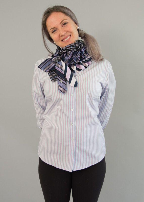 Upcycled cravatta sciarpa seta Ascot collare fatto di Day17Vintage