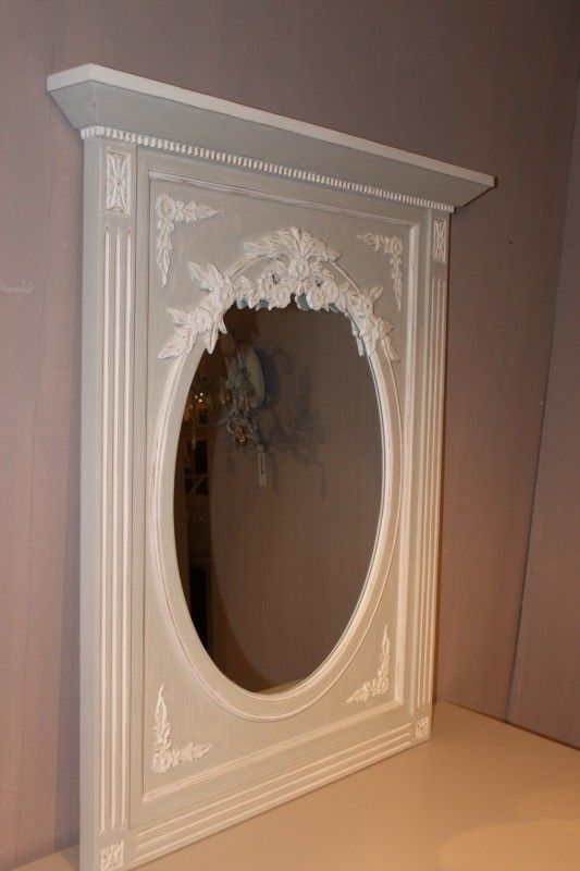 Barokke spiegel grijs/blauw wit