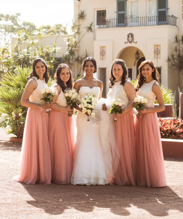 Mix and match bridesmaids outfit with blush pink tulle ...