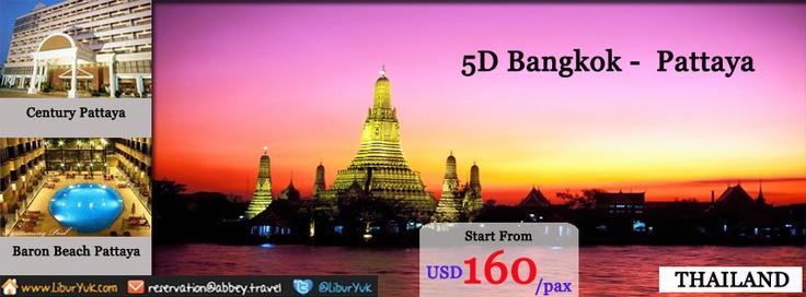 Ingin jalan-jalan ke Bangkok + Pattaya?Kini kami sediakan paket 5D Bangkok Pattaya.Anda akan diajaka keliling kota Bangkok+ Pattaya.Ayo booking sekarang juga dan dapatkan harga spesial.  Dapatkan Special Paket tersebut dari LiburYuk.com http://liburyuk.com/listpackage/5D+BANGKOK+PATTAYA atau kontak team reservasi kami di reservation@Abbey.Travel