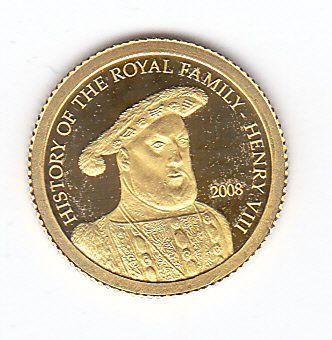 """Cook Eilanden - Dollar 2008 """"History of the Royal Family - Henry VIII"""" - goud  Cook Eilanden Dollar 2008 """"History of the Royal Family - Henry VIII"""" Gewicht 05 gram goud met een gehalte van 999/1000.Zie de afbeeldingen voor een eigen beoordeling.Wordt aangetekend verzonden.(Code 0307-3)  EUR 29.00  Meer informatie"""