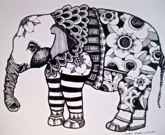Elephant Drawing Illustration Art  print by pinkflamingo61 on Etsy, $20.00