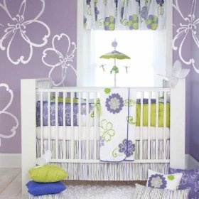 Purple Nursery - like the flower stencil