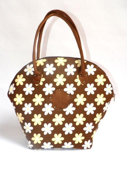 AKCIÓ!!! Bőrtáska: Kagyló alakú barna-fehér virágos textil táska bőrrel kombinálva (Miskolczimaya) - Meska.hu
