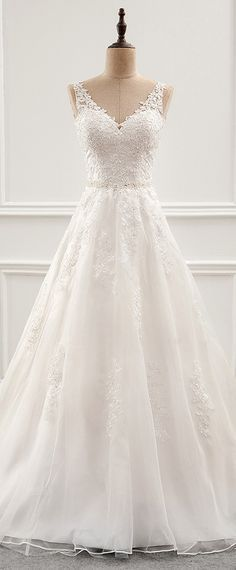 Fabulous Tulle & Organza V-neck Neckline A-Line Wedding Dress With Beaded Lace Appliques – Huguette Cyr