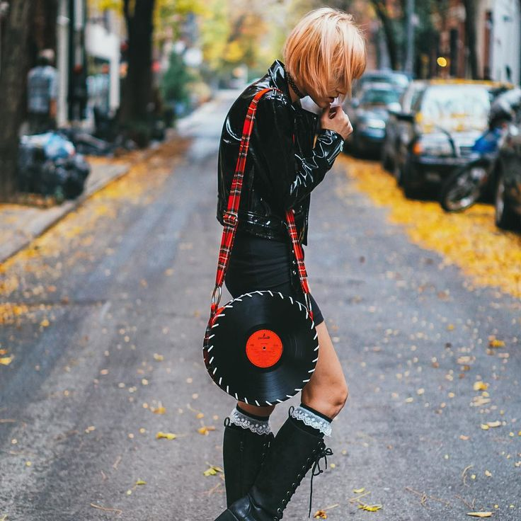 The Plaid Songbag vinyl record bag on the streets of New York.