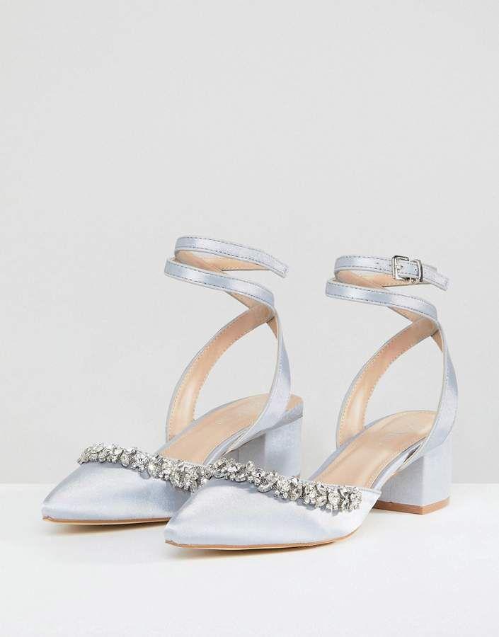 e58d67cc5c1 Be Mine Bridal Saphira Gray Satin Embellished Mid Heeled Shoes #Gray ...