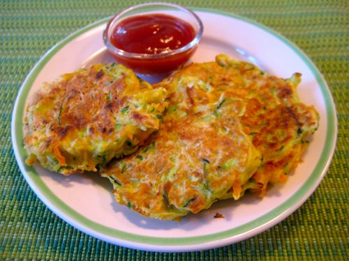 Veggie Pancakes: 1/2 C. grated carrots; 1/2 C. grated zucchini; 1 egg; 1/4 C. milk; 1/2 C. flour; 1/2 tsp. bkng. powder; 1 tsp. salt *add 2 Tbsp nutritional yeast; oil. Put grated veggies in a bowl. In a separate bowl whisk egg & milk - pour over veggies. Whisk together flour, b.p., salt, n.y. & sprinkle over veggie mix. Toss to combine. Fry pancakes in oiled skillet 3 min. per side.