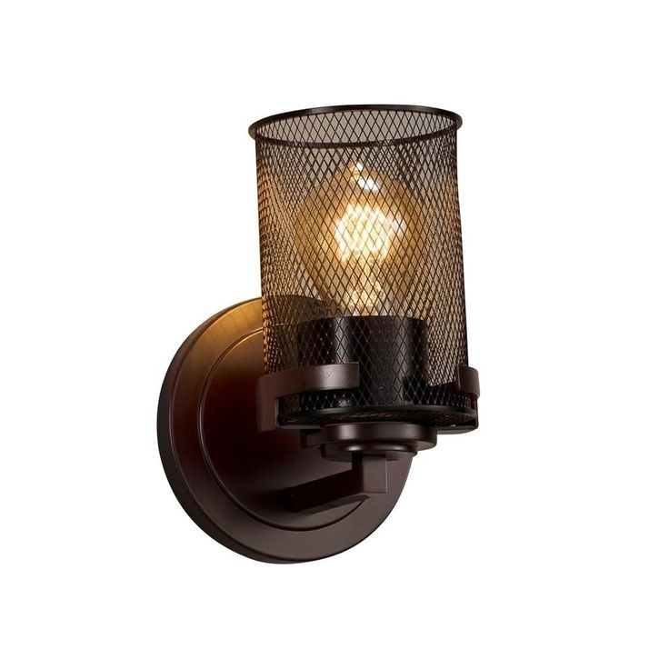 Justice Design Wire Mesh Atlas Dark Bronze Wall Sconce, Cylinder with Flat Rim