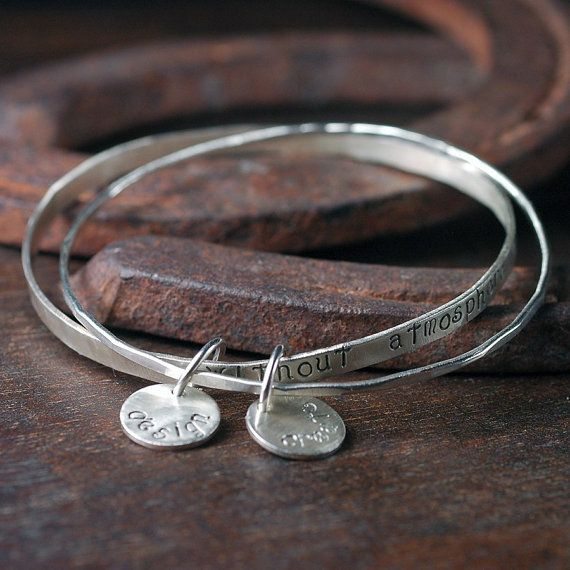 Silver Hand Stamped Bangles - Personalized Custom Message with your Choice of Text - Eco Friendly Recycled Sterling Silver