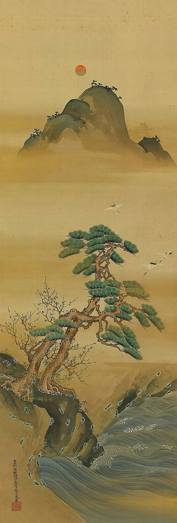 Arte japonés antiguo pintura colgante de pared por SakuraAntiques