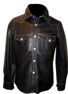 Mens leather shirt custom made style LS014 image