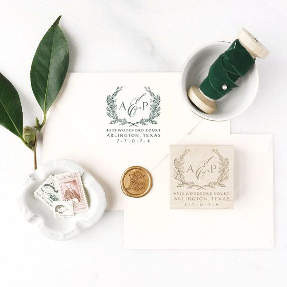 return Address Stamp No. 8---Personalized Calligraphy, Family Return Address, Newlyweds, Housewarming