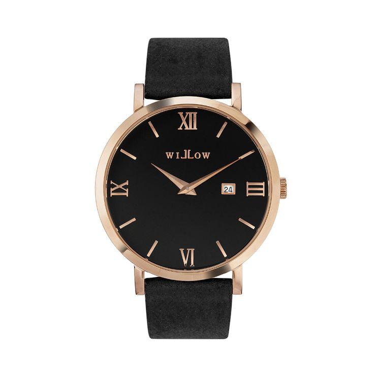 Roma Rose Gold Watch & Interchangeable Black Vegan Strap.