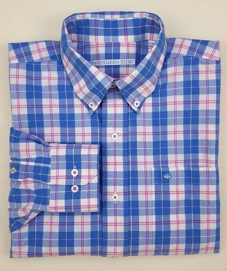 SOUTHERN Tide MEDIUM Shirt MENS Multicolor BLUE Checked OXFORD Cotton BLEND Size #SouthernTide