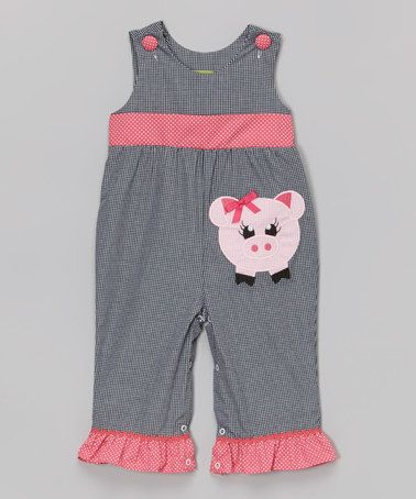 Loving this Black Gingham Piggy Ruffle Romper - Infant & Toddler on #zulily! #zulilyfinds