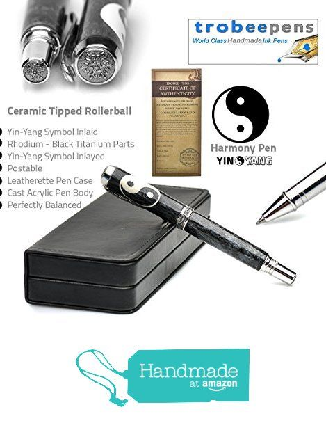 Handcrafted Yin Yang Pen Symbol Inlayed in Black White Italian Pen Resin Case and Certificate of Rollerball Pen Handmade Authenticity from TrobeePens https://www.amazon.com/dp/B06WD7KVXZ/ref=hnd_sw_r_pi_dp_21K7ybZWHSHNH #handmadeatamazon