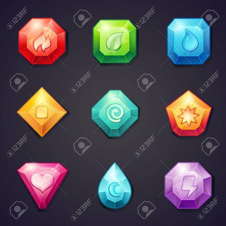 Conjunto de piedras de color de dibujos animados con elementos diferentes signos para su uso en el juego, tres en una fila Foto de archivo - 37226462
