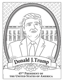 Donald Trump 45th President of the United States coloring