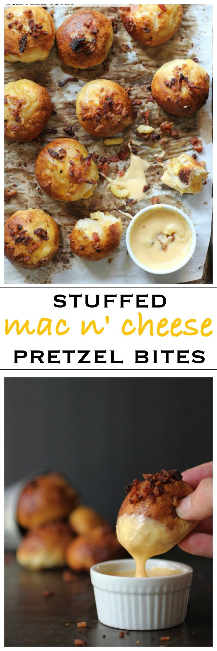 Pretzel bites stuffed with mac and cheese, dipped in a beer cheese sauce
