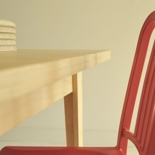 Navy 111 recycled PET plastic chair (111 PET drink bottles in each chair) Same form as the design classic Navy Chair in aluminium. usethings All-ply table in plantation E0 hoop pine plywood. Light and strong, this design is scaleable and has options of drawers and linoleum top