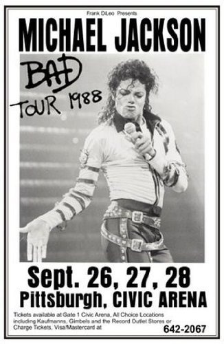 Michael Jackson 1988 World Tour Beat It Billie Jean 11x17 Rare Very Limited Concert Poster Print Only One on Amazon by Mypostergallery, http://www.amazon.com/dp/B007QVBTJC/ref=cm_sw_r_pi_dp_O0fIrb18Q4S1Q