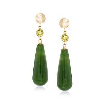 Green Jade Teardrop Earrings With .60 ct. t.w. Peridot in 14kt Yellow Gold