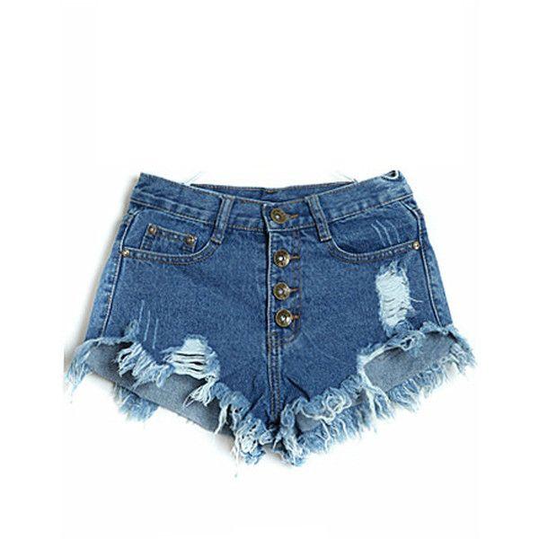 Dark Blue Distressed Raw Hem Low Waist Denim Shorts ($14) ❤ liked on Polyvore featuring shorts, jean shorts, ripped jean shorts, distressed shorts, short denim shorts and distressed denim shorts