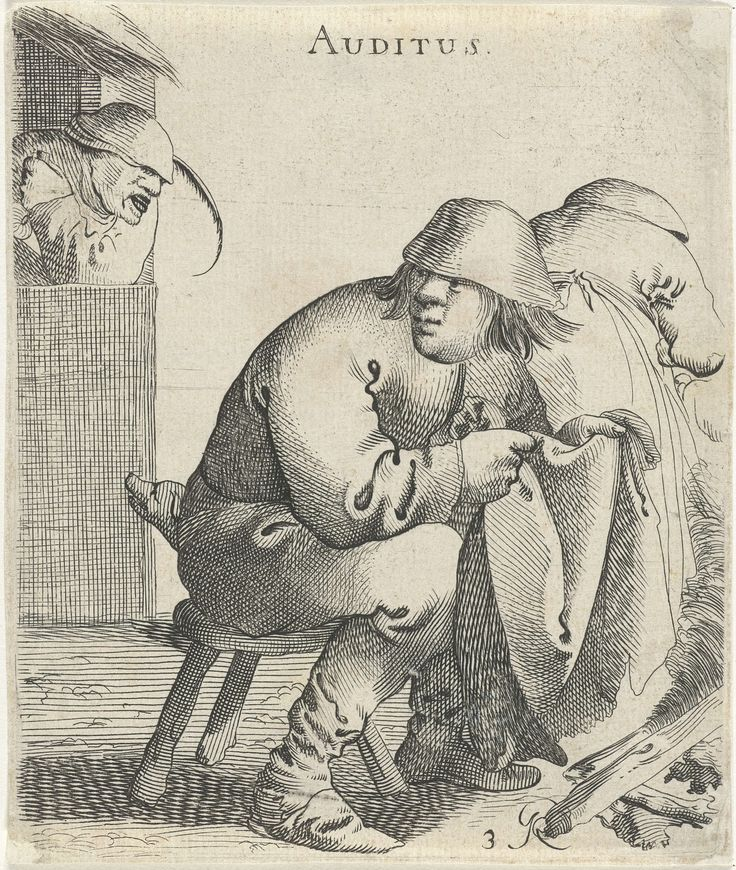 Pieter Jansz. Quast | Gehoor, Pieter Jansz. Quast, 1638 | Een man en een vrouw zitten bij een knisperend vuur terwijl links een hond staat te blaffen naar een man in een deuropening. De prent maakt deel uit van een serie van zes prenten met de vijf zintuigen.