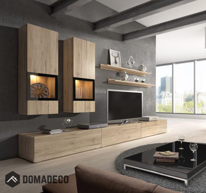 Unite Murale Baros Chene Mobilier De Salon Meuble Tv Moderne Et Meuble Rangement Salon