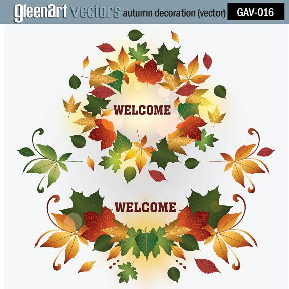Autumn welcome vector decoration/leaf vector by GleenArt on Etsy