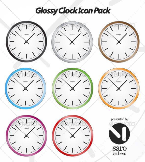 This package contains a clock icon with 8 colour variations. All the icons are delivered in the vector formats .Ai/.EPS and .PNG w