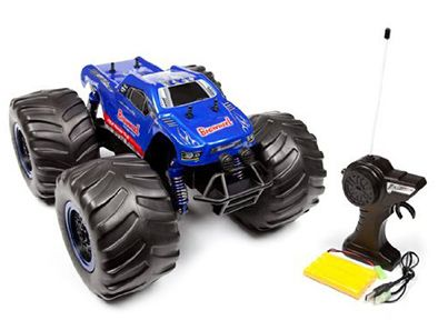 This all-terrain Monster Truck is a 1:8 scale replica with massive foam wheels that crushes the competition, climbing over obstacles and taking on terrain that most RC vehicles can't!