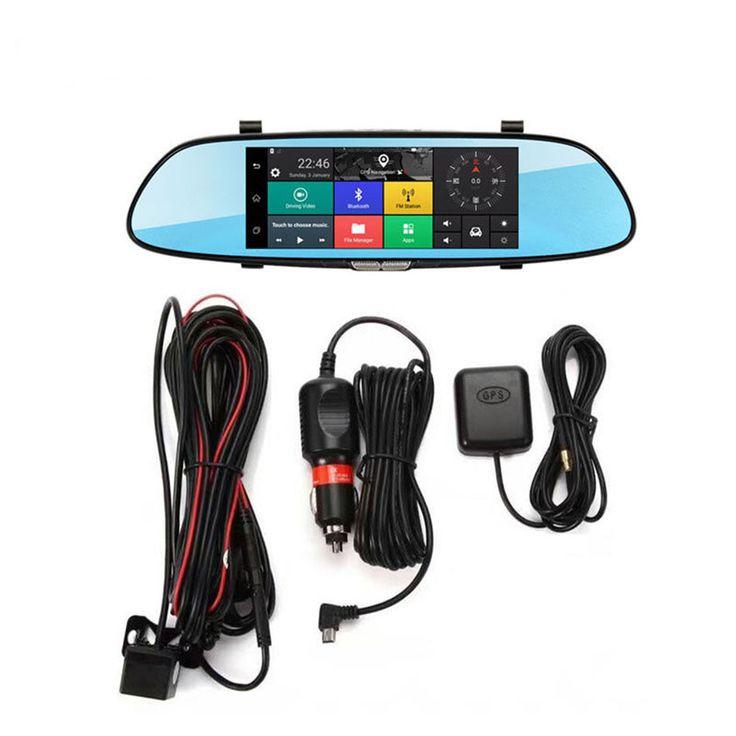 7 Inch Coche Espejo retrovisor Dash Cámara HD 1080P Android Dual Lente DVR Cámara 3G WIFI GPS