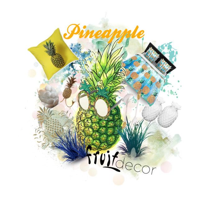 """Pineapple #fruitdecor"" by tinaradu on Polyvore featuring interior, interiors, interior design, home, home decor, interior decorating, Kess InHouse, Ballard Designs, Talking Tables and DWBH Homewares"
