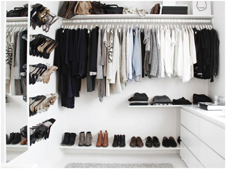 elegant and affordable walk-in closet made from IKEA furniture //