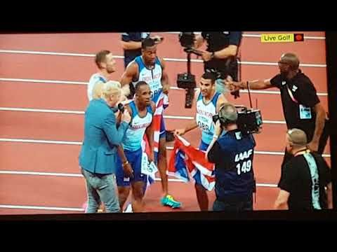 Mens 4 x 100m Relay Final. 2017 London World Championships. Usain Bolt's last race. Team GB win gold - YouTube