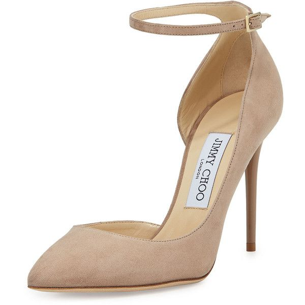 Jimmy Choo Lucy Half-d'Orsay Suede Pump (€650) ❤ liked on Polyvore featuring shoes, pumps, nude, ankle strap shoes, suede pumps, nude high heel shoes, strappy pumps and pointed toe high heel pumps