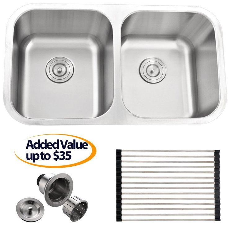 Comllen Best Commercial 32 Inch Double Bowl Undermounted Stainless Steel  Kitchen Sink, 9 Inch Depth
