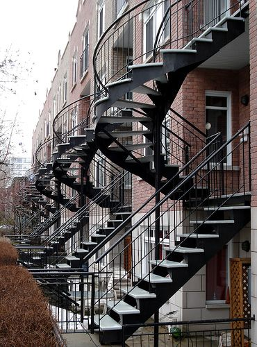 many visits to Montreal, always loved their spiral stairs everywhere..