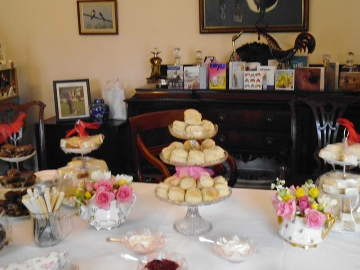 Scones and table decorations for 165th joint Birthday Party