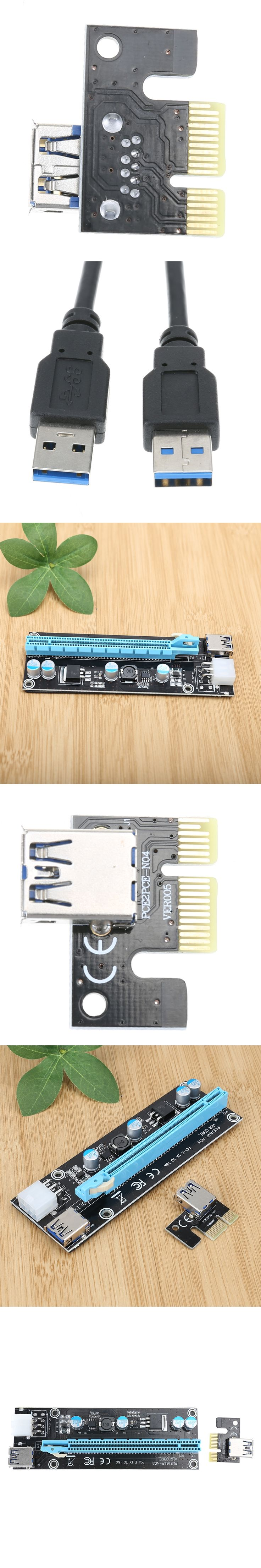 New Type PCIe Riser PCI-E Express 1X 16X Extender Riser Card Adapter 15PIN-6PIN Power Cable 60cm USB3.0 for BTC Mining Machine