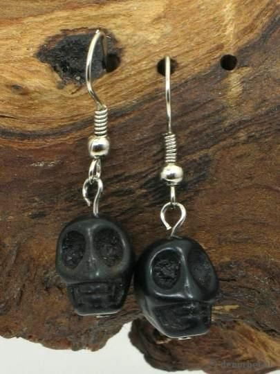 €1,95 per paar, Leuke zwarte doodshoofd (black skull) oorbellen Halloween earrings, #Halloween #earring